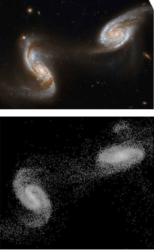 Comparison of an optical image for the interacting galaxy pair NGC 5257/8 with a numerical simulation matched to the encounter.
