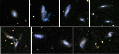 SDSS thumbnails of 7 dwarf galaxy pairs from Stierwalt+ 2015.